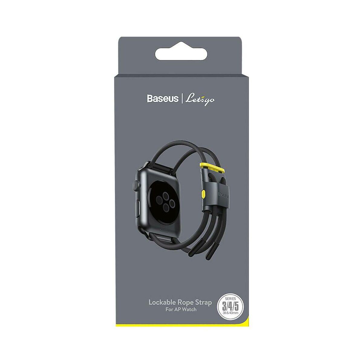 Baseus Apple Watch óraszíj, Lets go zárható, méretre állítható, 3,4,5 modellekhez, 38 mm / 40 mm, szürke/sárga (LBAPWA4-AGY)