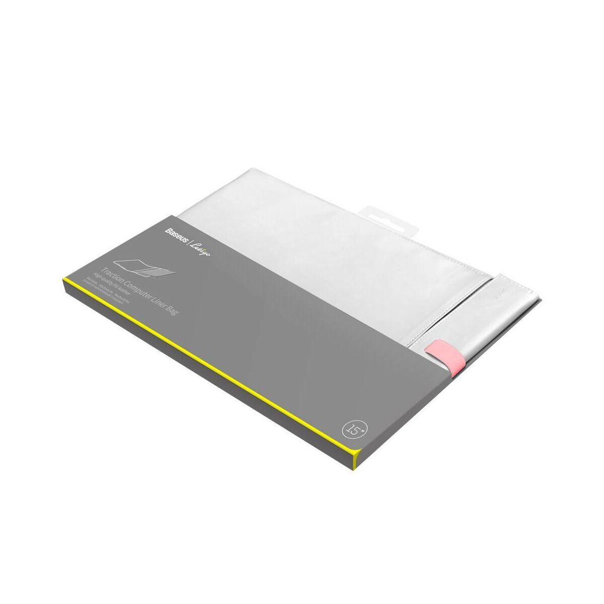 Baseus MacBook és Laptop tartó, mappa jellegű, Lets go Traction tárolásra / hordozásra (16 inch méretig max) fehér/rózsaszín (LBQY-B24)