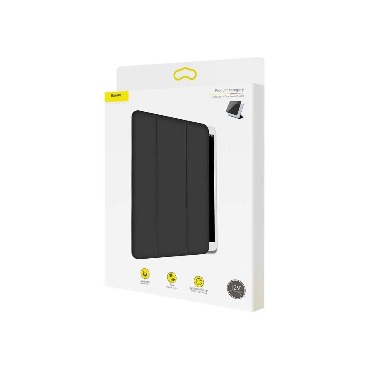 "Baseus iPad Pro 12.9"" tok, Simplism Y-Type bőr tok, fekete (LTAPIPD-BSM01)"