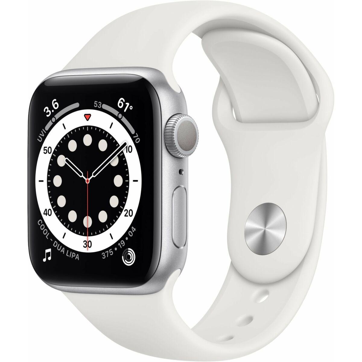 Apple Watch Series 6 GPS 40mm ezüst alumínium, fehér sport szíj EU MG283