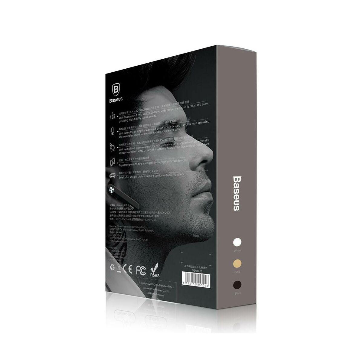 Baseus fülhallgató, Bluetooth Encok A01 vezeték nélküli, ezüst/fekete (NGA01-0S)