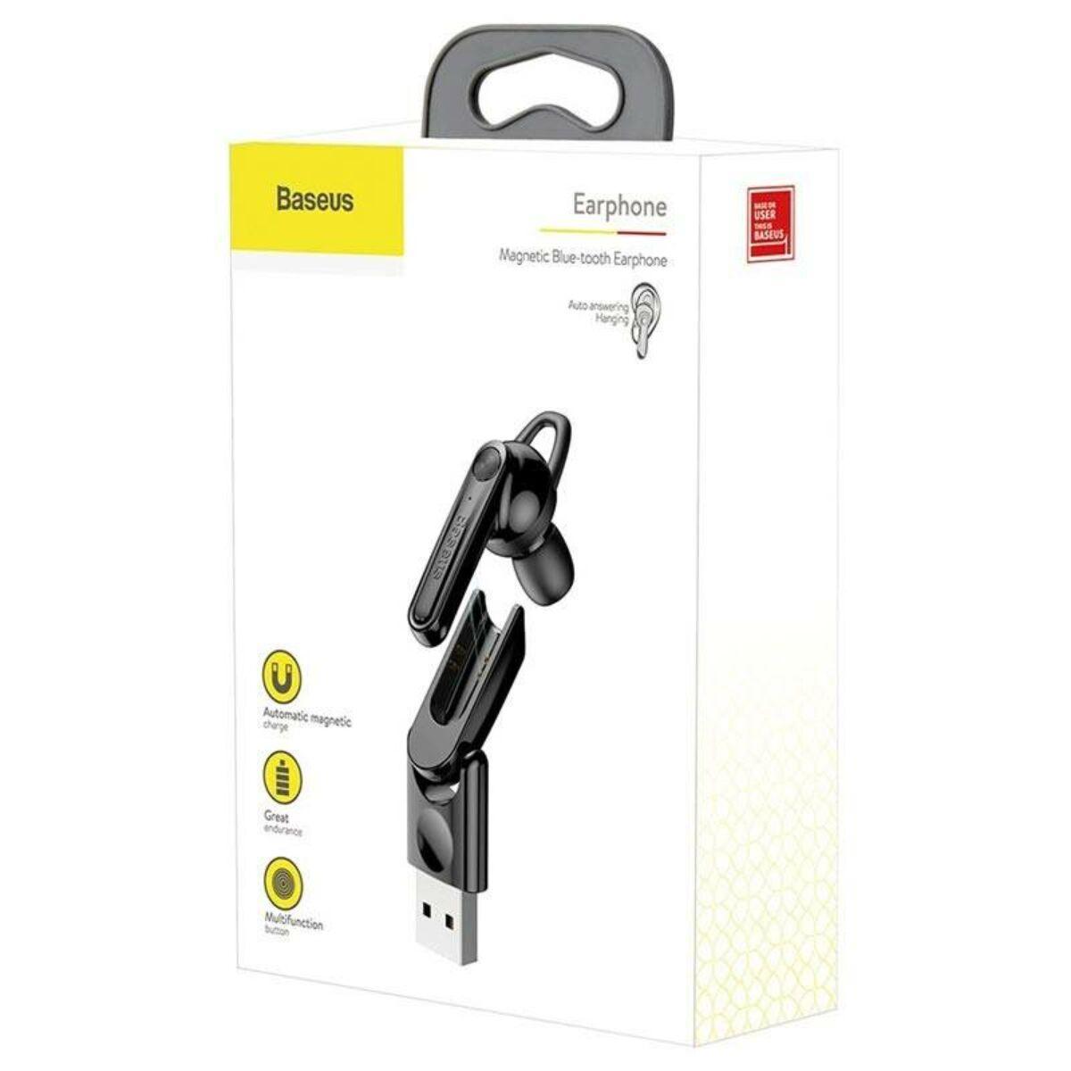 Baseus Headset Bluetooth, Magnetic USB töltőállomással, vezeték nélküli, fekete (NGCX-01)