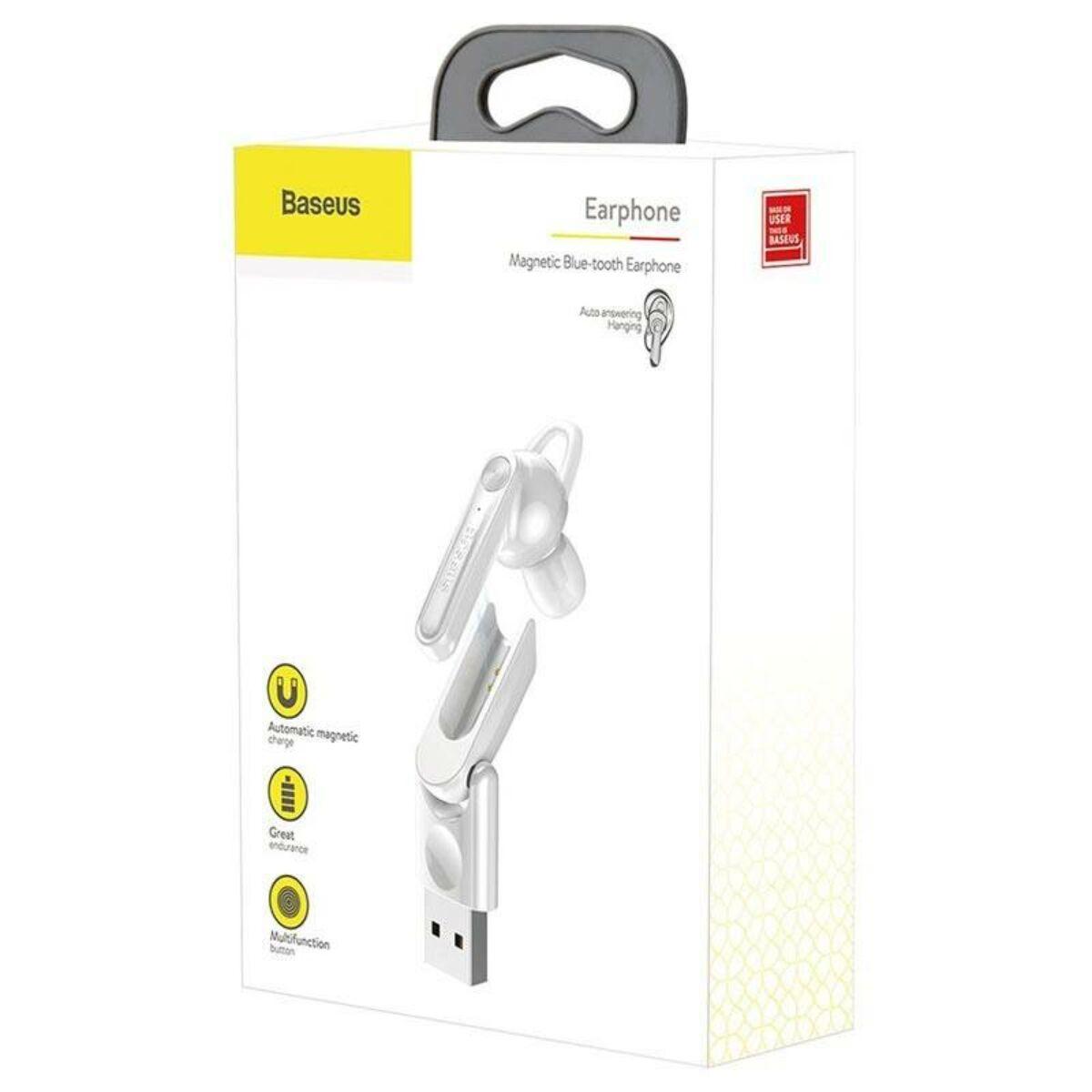Baseus Headset Bluetooth, Magnetic USB töltőállomással, vezeték nélküli, fehér (NGCX-02)