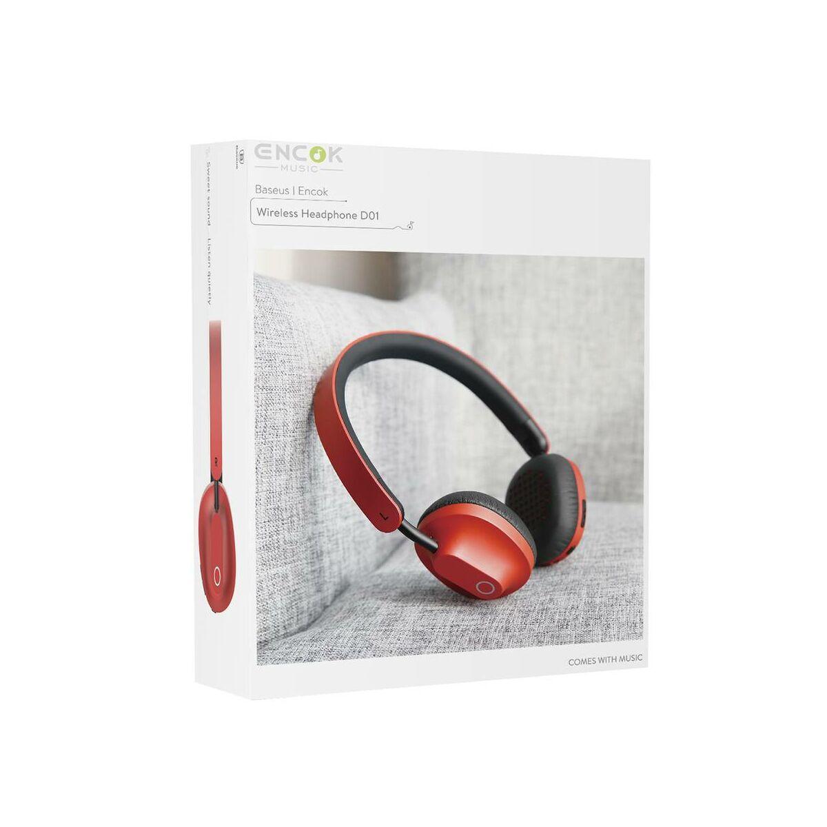 Baseus fejhallgató, Bluetooth Encok D01 vezeték nélküli, piros (NGD01-09)