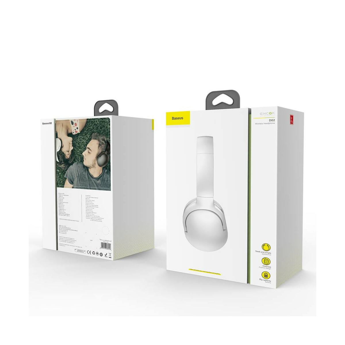 Baseus fejhallgató, Bluetooth Encok D02 vezeték nélküli, fehér (NGD02-02)