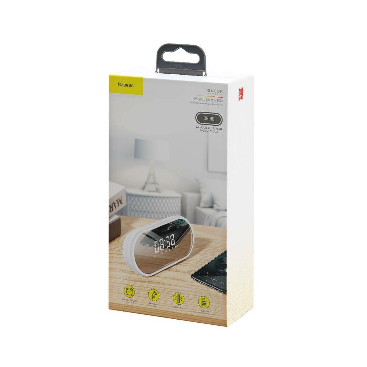 Baseus Hordozható hangszóró, Bluetooth Encok E09, ébresztő óra és LED lámpa funkcióval, fehér (NGE09-02)