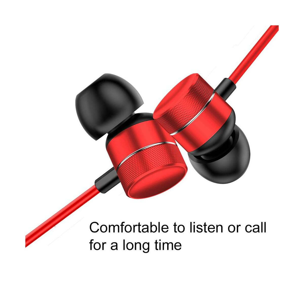 Baseus fülhallgató, Encok H04, mini jack, vezetékes, piros (NGH04-09)