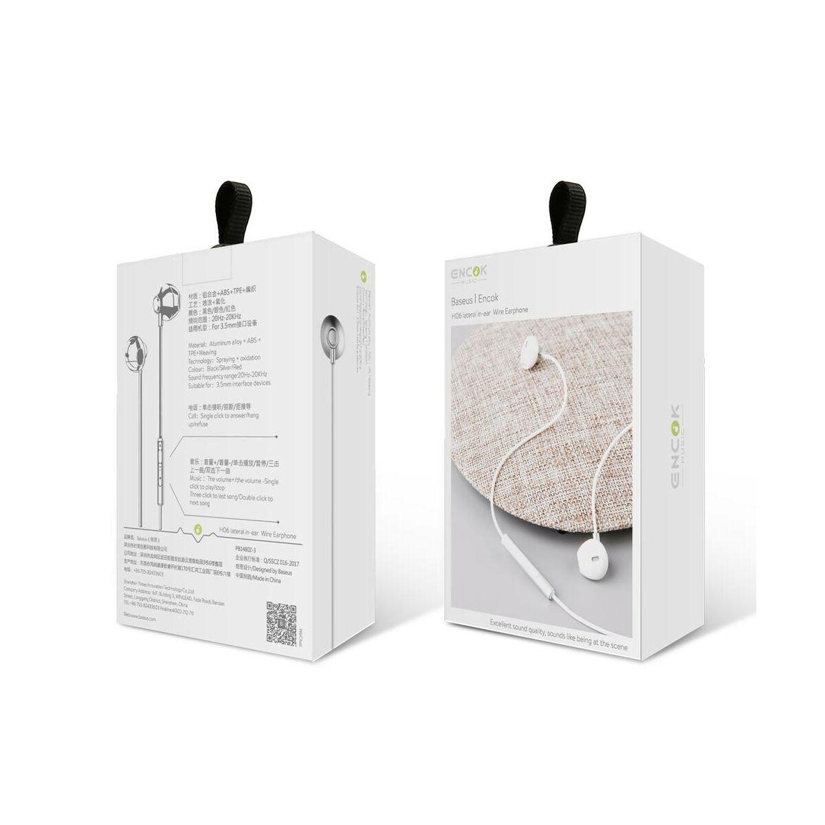 Baseus fülhallgató, Encok H06 lateral-in-ear, mini jack, vezetékes, ezüst (NGH06-0S)
