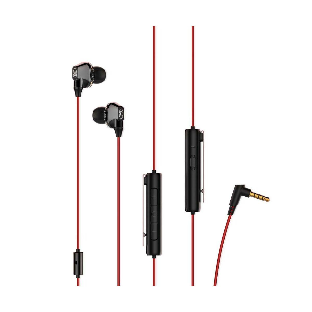 Baseus fülhallgató, Encok H08, Immersive virtual 3D gaming, mini jack, vezetékes, vezérlővel, piros/fekete (NGH08-91)