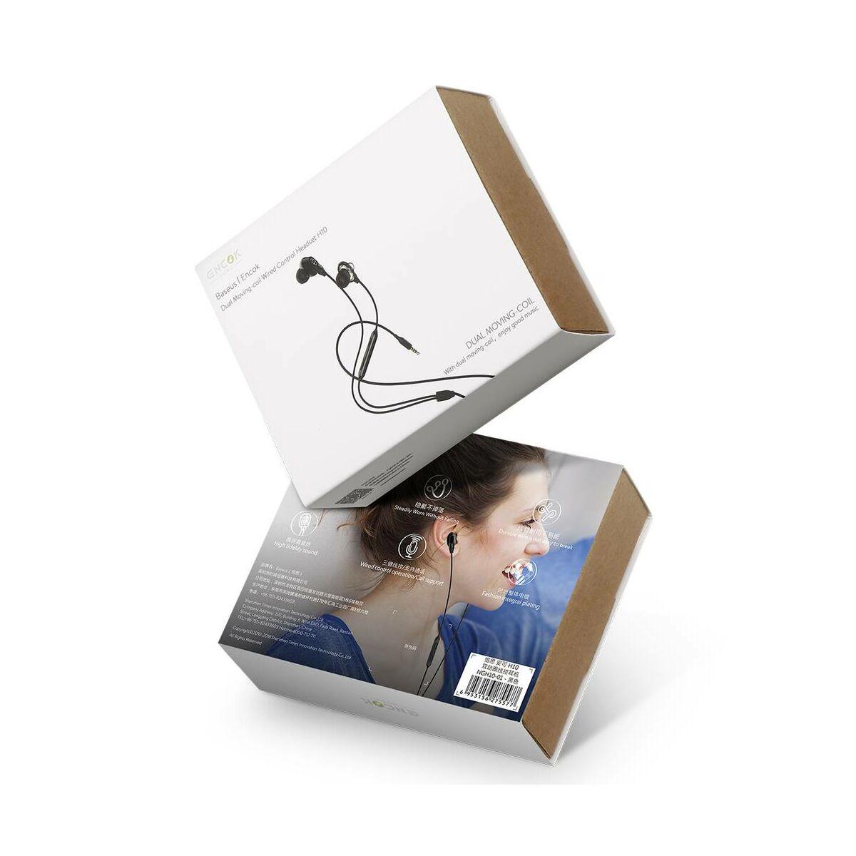 Baseus fülhallgató, Encok H10, Dual Moving-Coil vezetékes headset, vezérlővel, fekete (NGH10-01)
