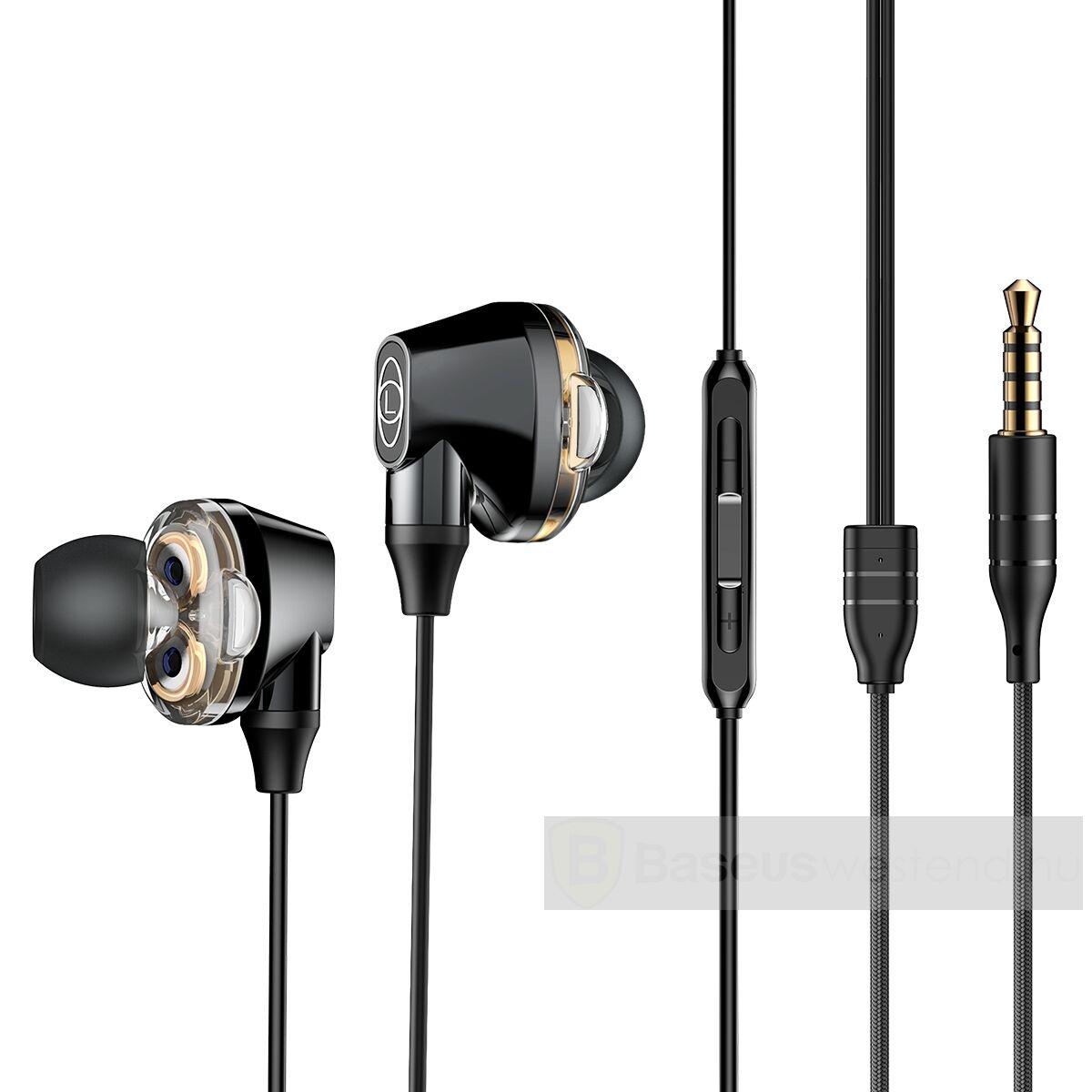 Baseus fülhallgató, Encok H10 Dual Moving-Coil vezetékes headset, vezérlővel, fekete (NGH10-01)