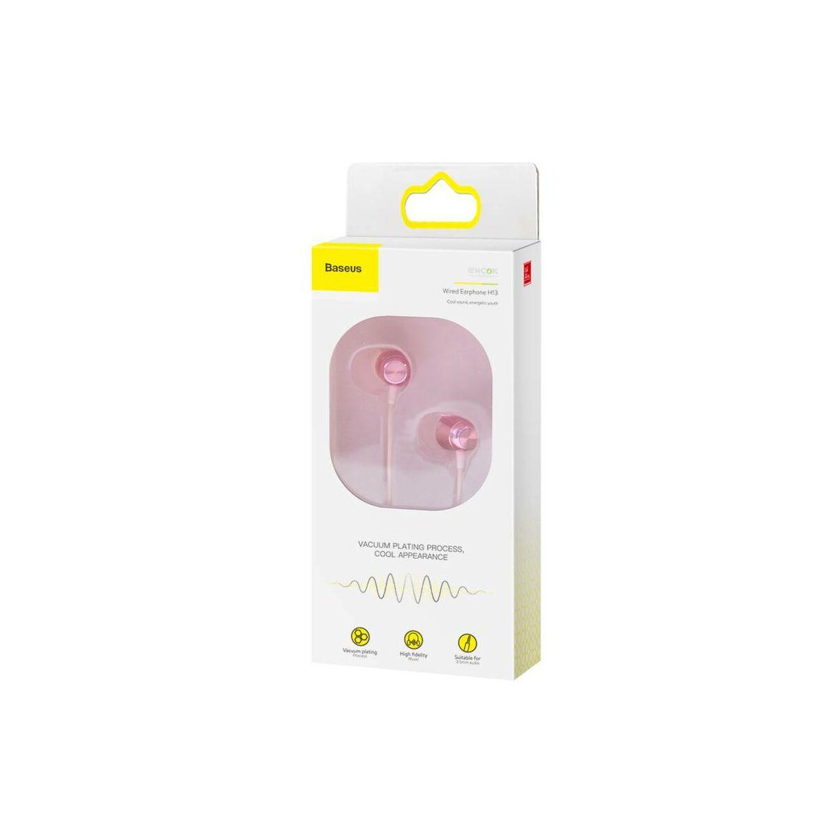 Baseus fülhallgató, Encok H13, vezetékes, vezérlővel, rózsaszín (NGH13-04)