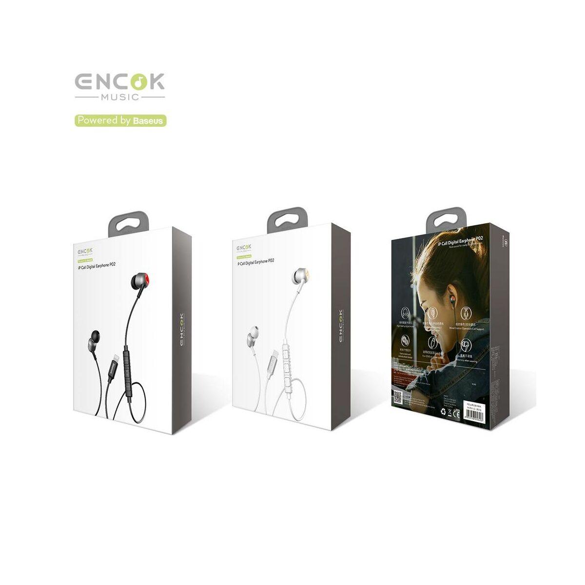 Baseus fülhallgató, Encok P02, Lightning Call Digital, vezetékes, fekete/szürke (NGP02-1G)
