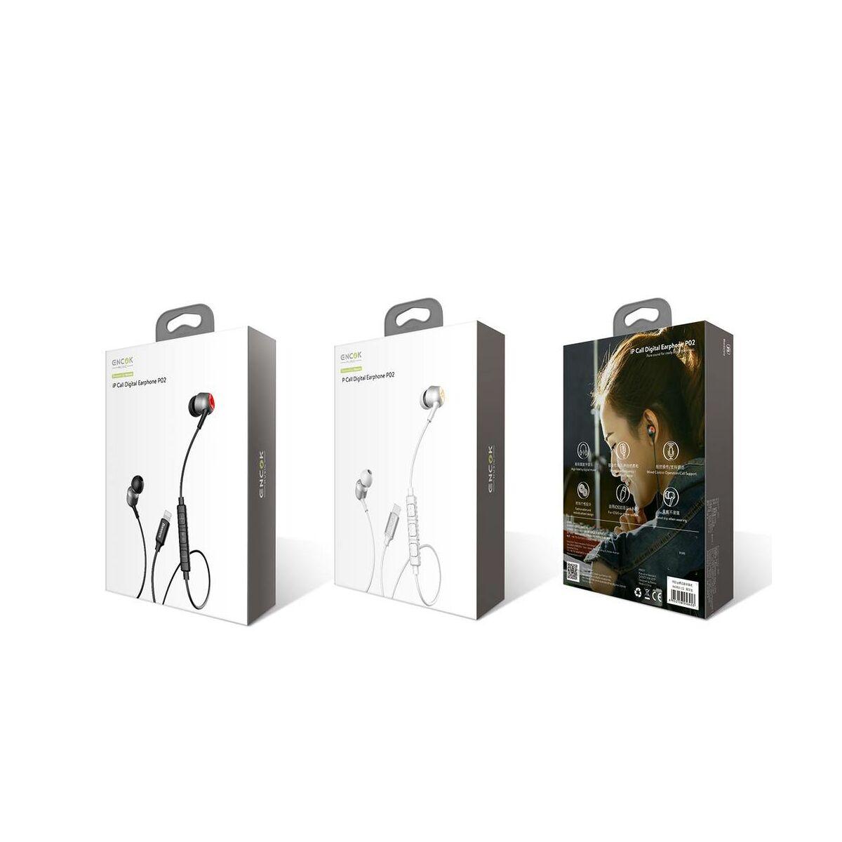 Baseus fülhallgató, Encok P02, Lightning Call Digital, vezetékes, fehér/arany (NGP02-2V)