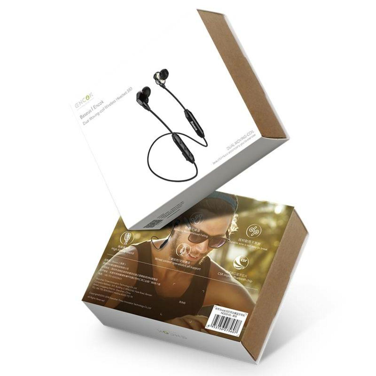 Baseus fülhallgató, Bluetooth Encok S10 Dual Moving-Coil vezeték nélküli headset, vezérlővel, fekete (NGS10-01)