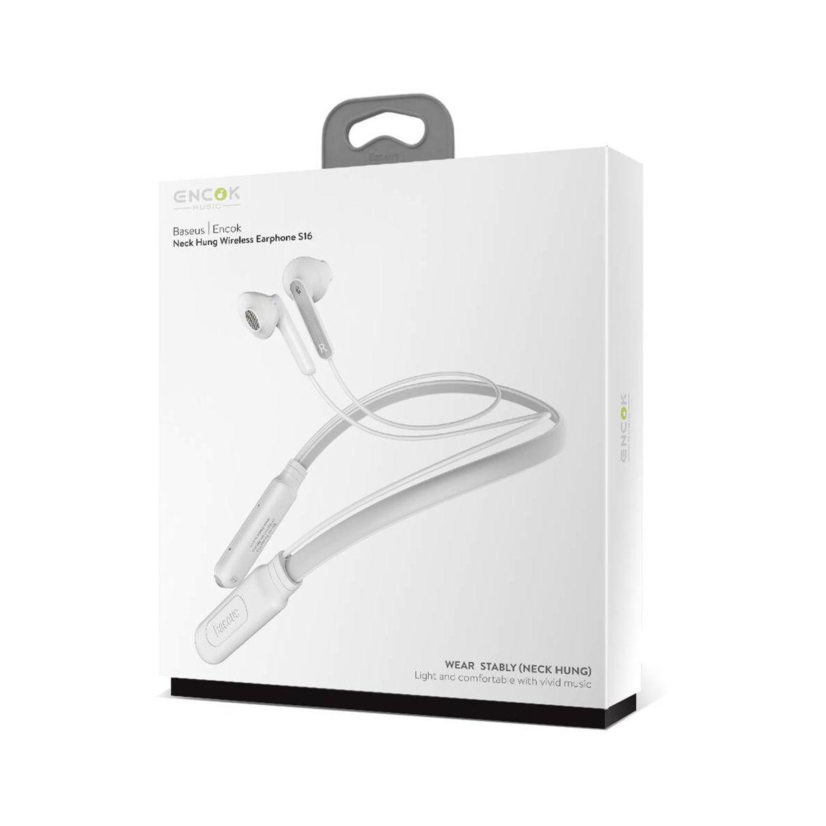 Baseus fülhallgató, Bluetooth Encok S16, nyakba akasztós, vezeték nélküli, fehér (NGS16-02)