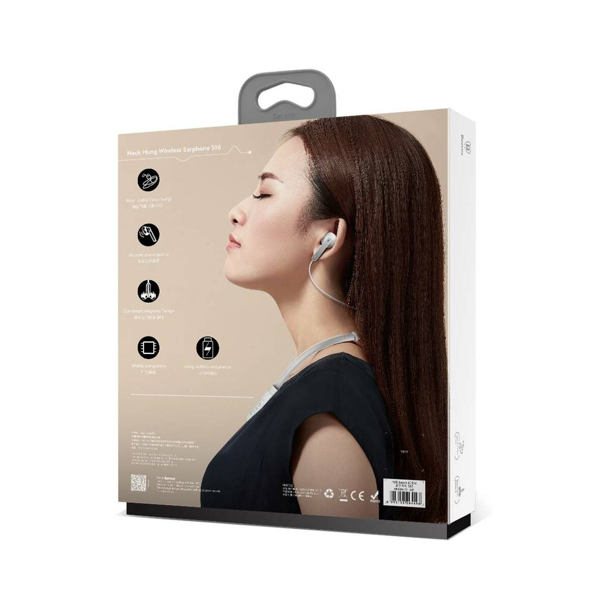 Baseus fülhallgató, Bluetooth Encok S16 nyakba akasztós, vezeték nélküli, fehér (NGS16-02)