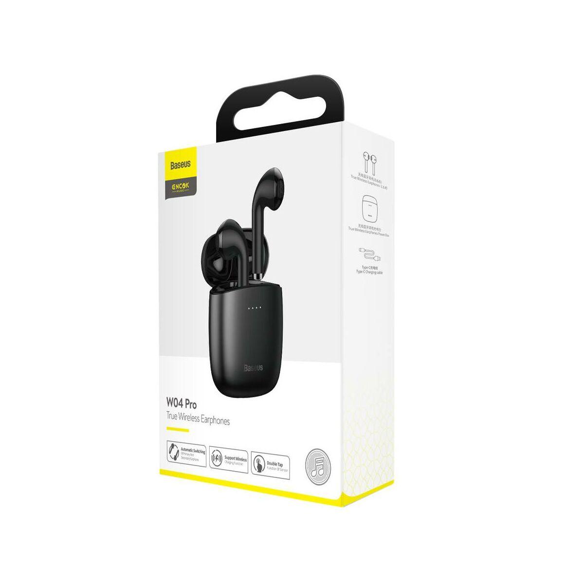Baseus fülhallgató, Bluetooth Encok W04 PRO TWS Truly Wireless headset, fekete (NGW04P-01)
