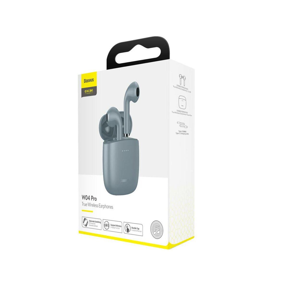 Baseus fülhallgató, Bluetooth Encok W04 PRO TWS Truly Wireless headset, szürke (NGW04P-0G)