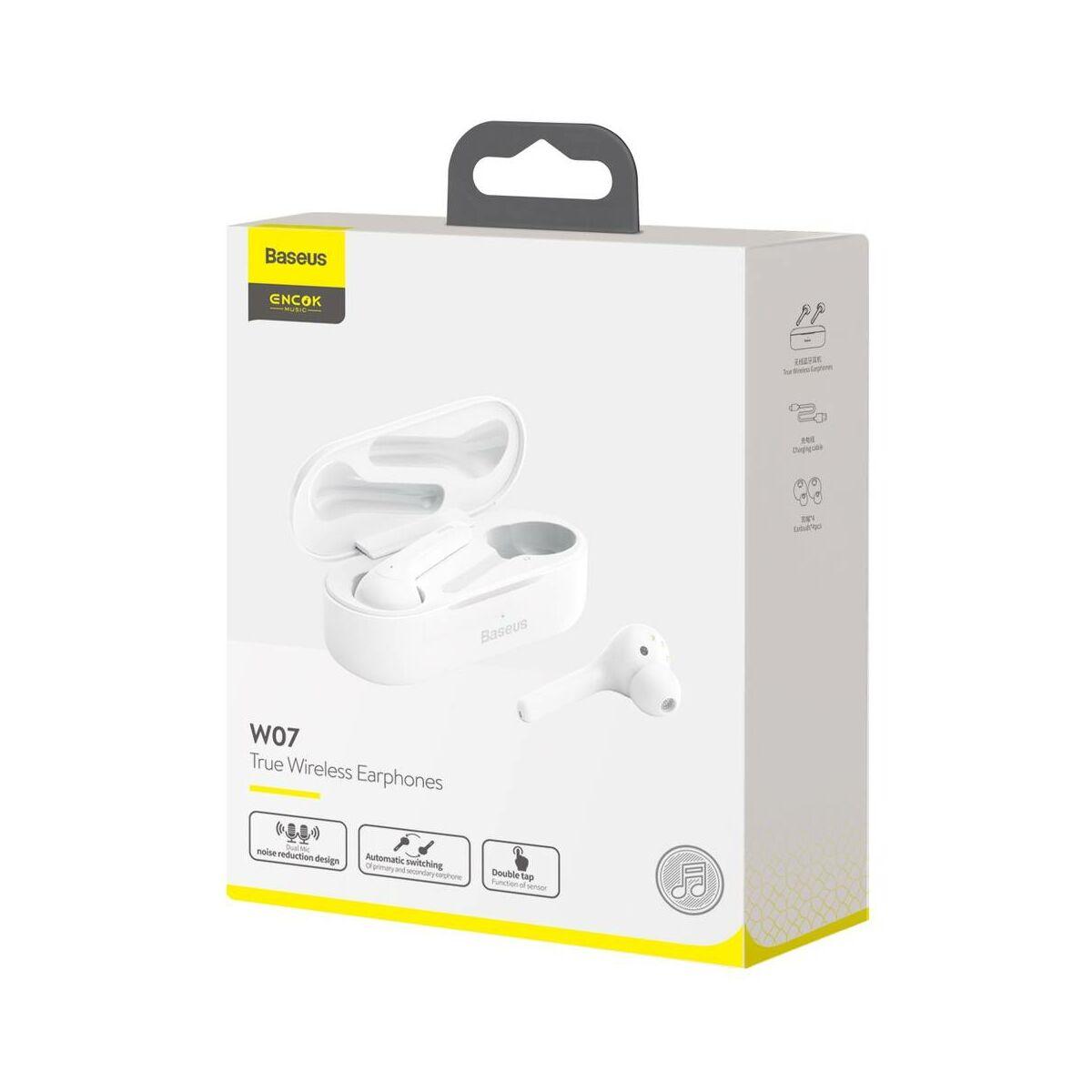 Baseus fülhallgató, Bluetooth Encok W07, True Wireless, vezeték nélküli, dual mikrofon BT 5.0 TWS, fehér (NGW07-02)