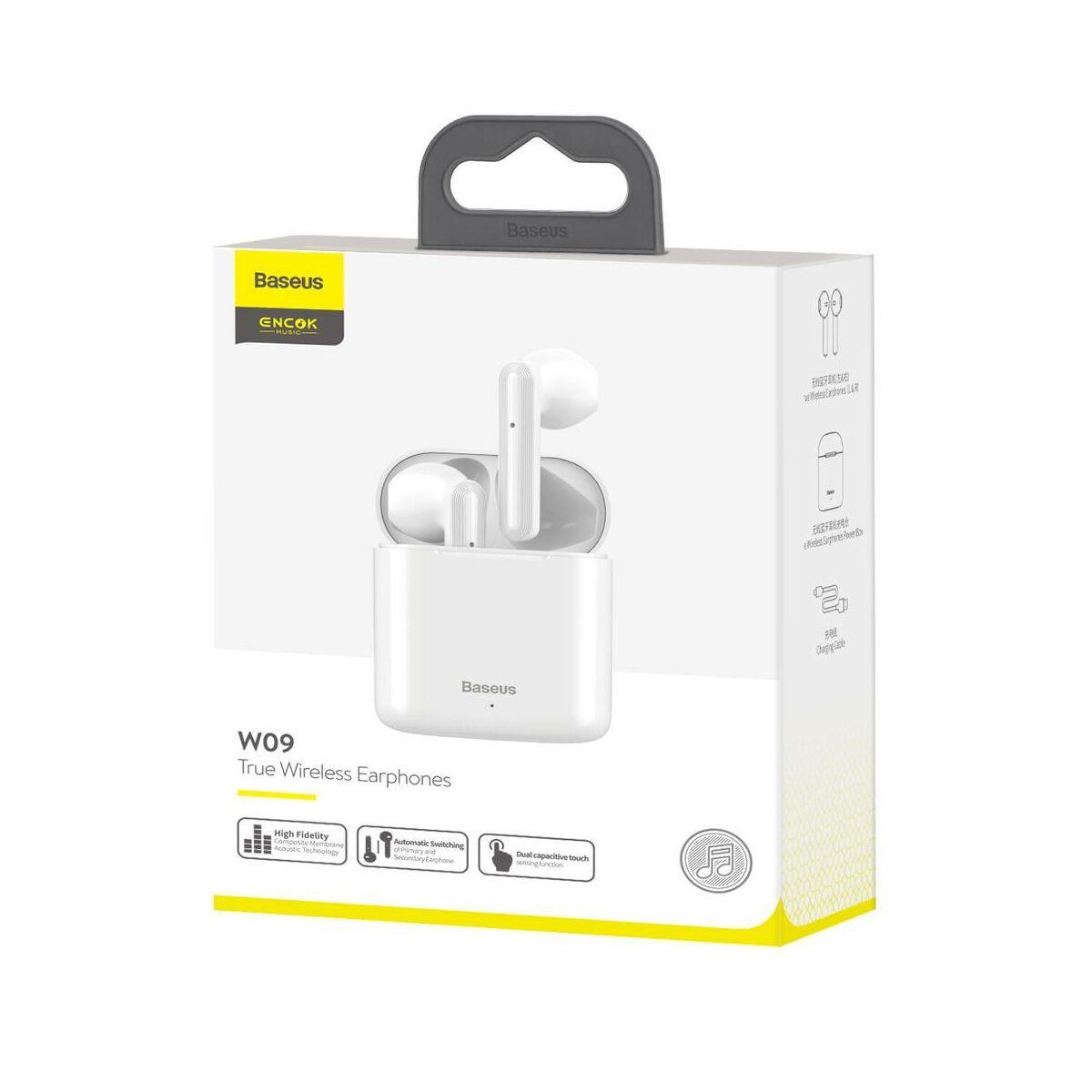 Baseus fülhallgató, Bluetooth Encok W09 True Wireless, vezeték nélküli, BT 5.0 TWS fehér (NGW09-02)