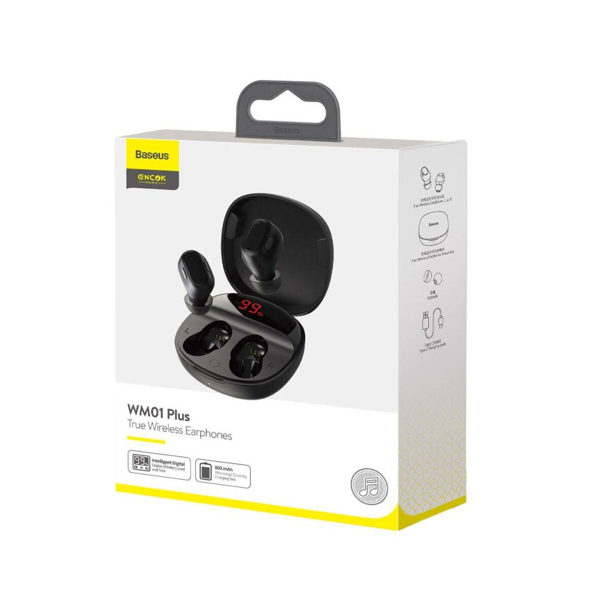 Baseus fülhallgató, Bluetooth Encok WM01 True Wireless, vezeték nélküli, BT 5.0 TWS, akár 10m kommunikációs távolság, fekete (NGWM01P-01)