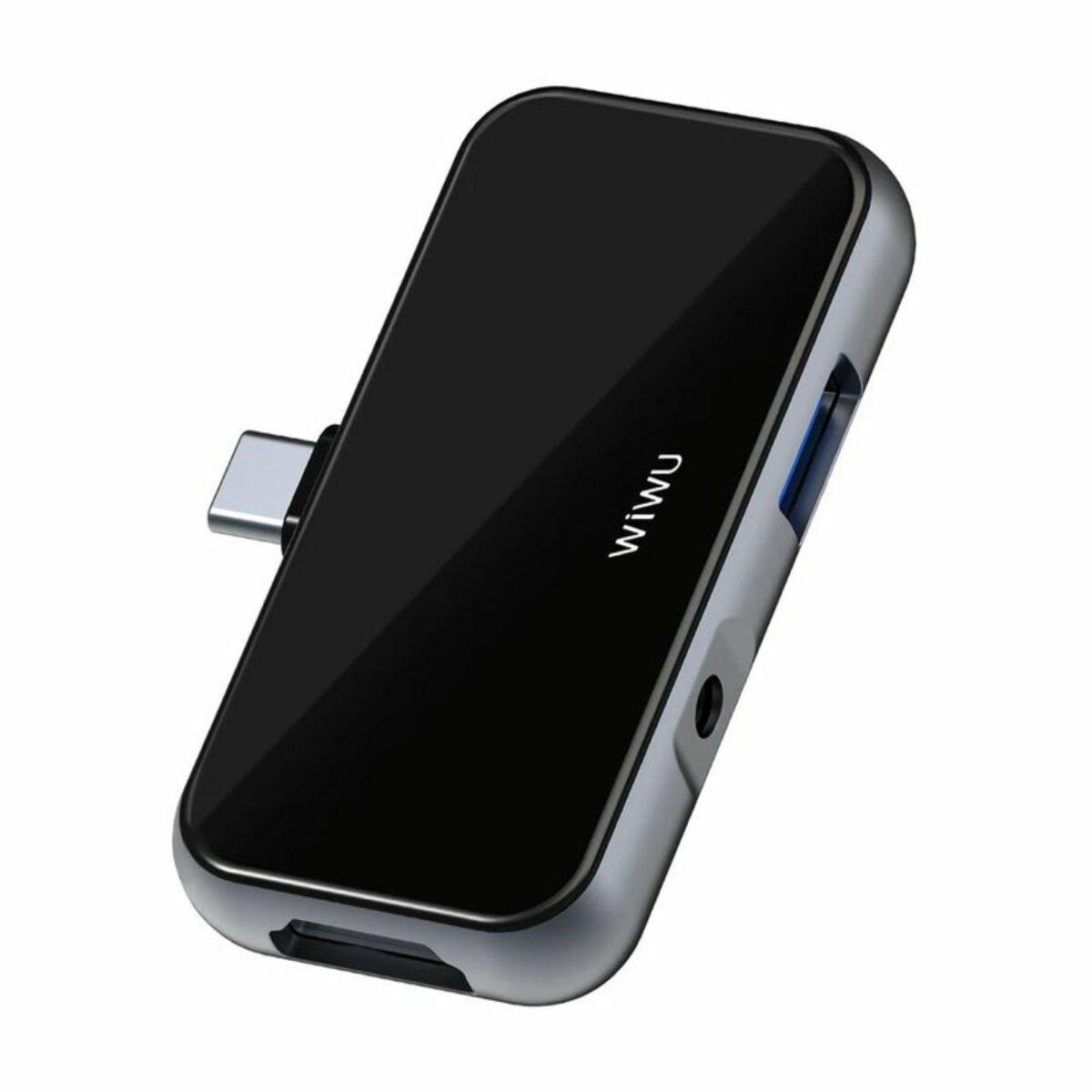 WiWU átalakító, T5 Pro (Type-C bemenetről - HDMI + 3.5mm Jack + USB3.0) adapter iPadhez és telefonhoz, szürke