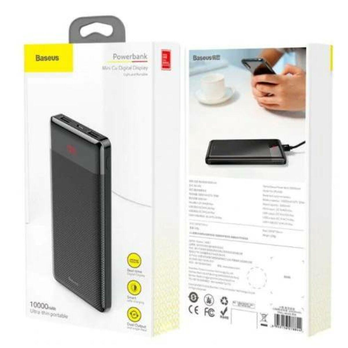 Baseus Power Bank Mini Cu, digitális kijelző (Micro USB bemenet / dupla USB kimenet), 2.1A, 10.000 mAh, fekete (PPALL-AKU01)