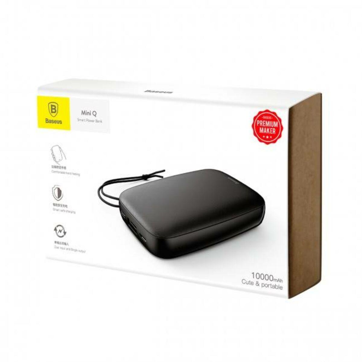 Baseus Power Bank Mini Q, (Micro USB + Type-C bemenet / USB kimenet), 2,1A, 10.000 mAh, fekete (PPALL-BXQ01)