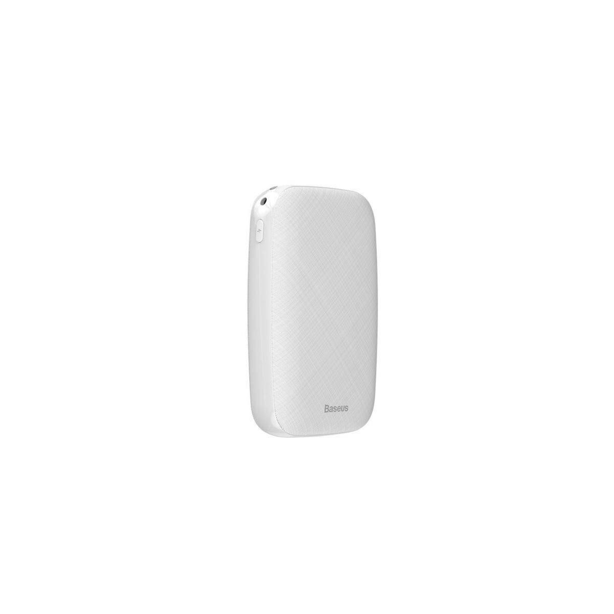 Baseus Power Bank Mini Q, (Micro USB + Type-C bemenet / USB kimenet), 2,1A, 10.000 mAh, fehér (PPALL-BXQ02)