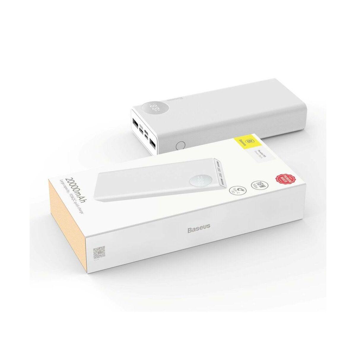 Baseus Power Bank Mulight, PD gyors töltés (Micro USB + Type-C + Lightning bem. / 2xUSB + Type-C PD kim.), 3A, 20.000 mAh, fehér (PPALL-MY02