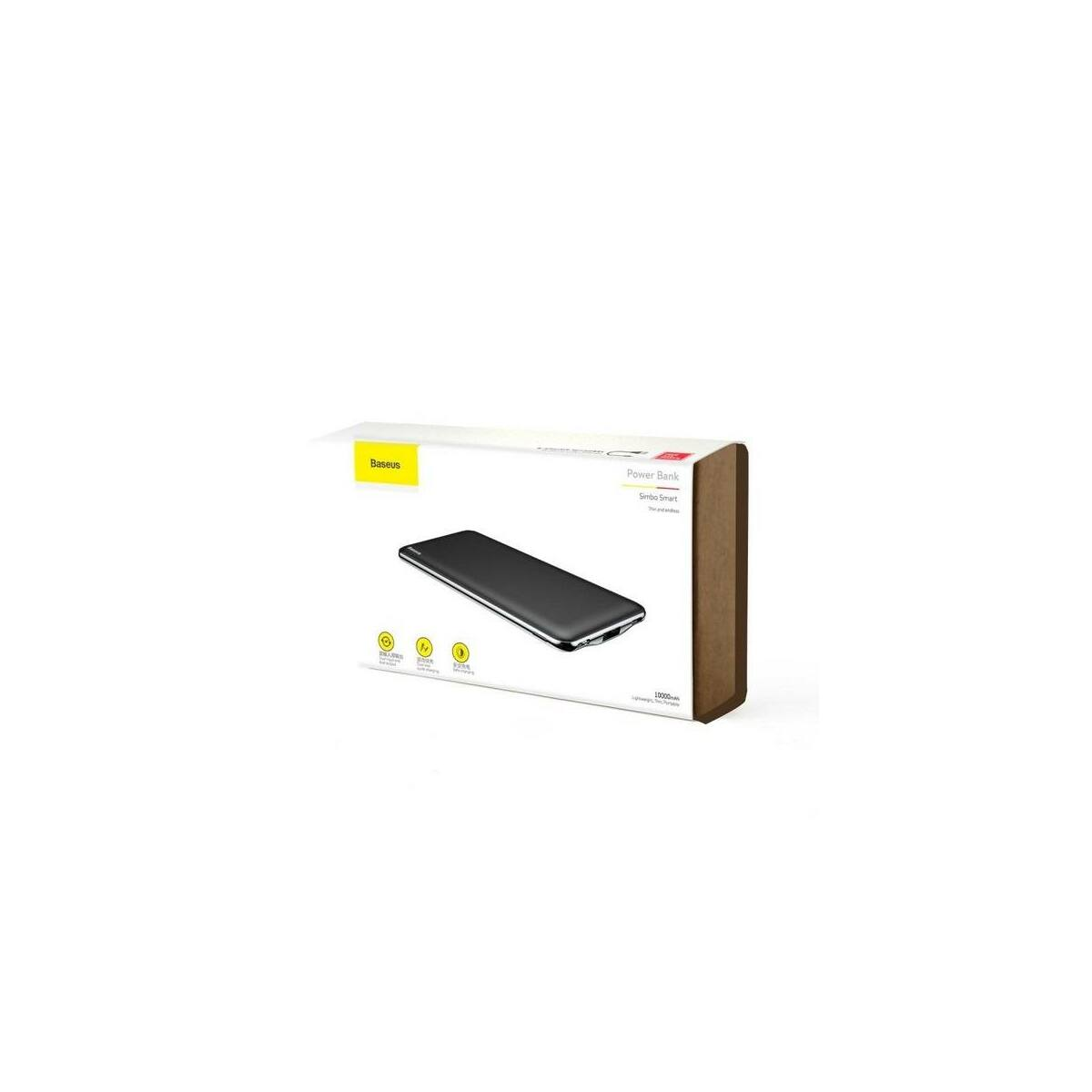 Baseus Power Bank Simbo (Type-C + Lightning bemenet / TC + USB kimenet 5V 3A, 50cm Type-C kábel) 10.000 mAh, fekete (PPALL-QB01)