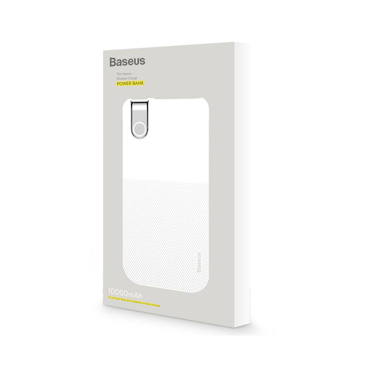 Baseus Power Bank vezeték nélküli töltés Thin Version (Type-C bemenet / USB kimenet), 2.1A, 10.000 mAh, fehér (PPALL-QY02)