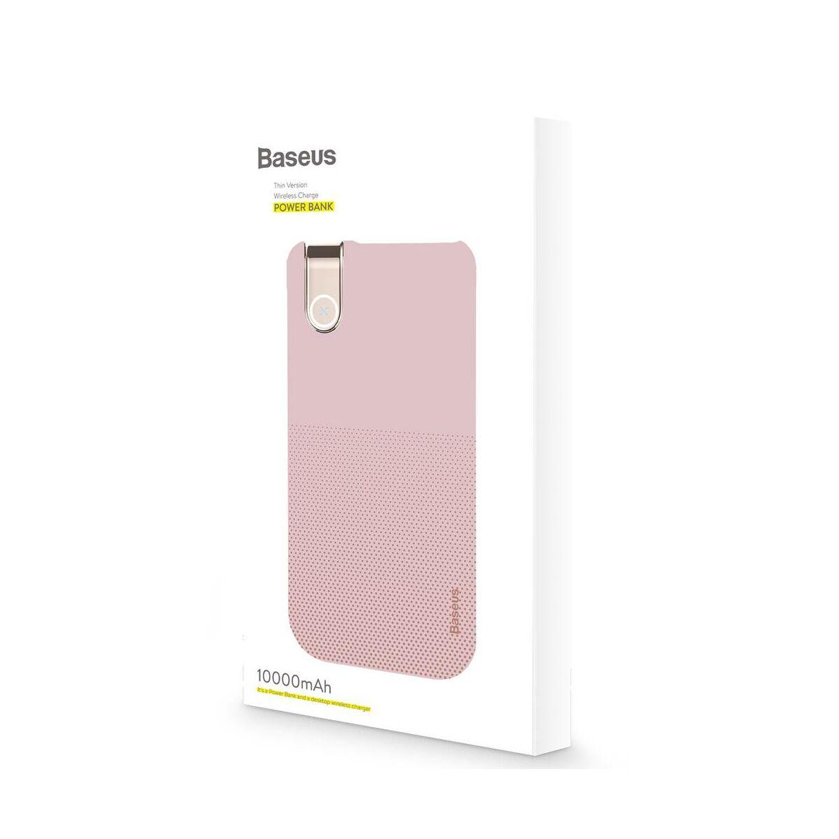 Baseus Power Bank vezeték nélküli töltés Thin Version (Type-C bemenet / USB kimenet), 2.1A, 10.000 mAh, rózsaszín (PPALL-QY04)
