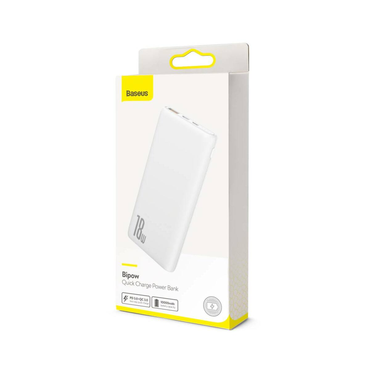 Baseus Power Bank Bipow gyors töltős Power Bank PD+QC kimenettel 3A 10000 mAh 18W, fehér (PPDML-02)