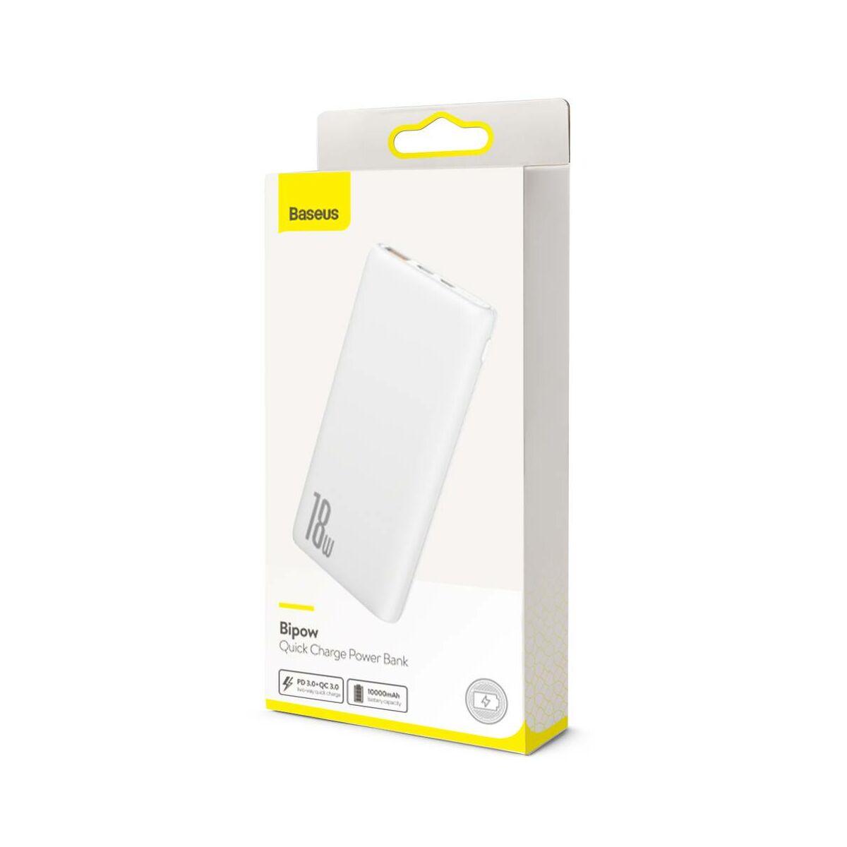 Baseus Power Bank Bipow gyors töltős Power Bank PD+QC kimenettel 3A 10000 mAh 18W, fehér (PPDML-02)