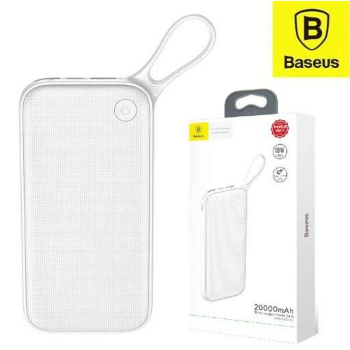 Baseus Power Bank Powerful (Micro USB + Type-C bemenet / dupla USB + Type-C PD kimenet), 2.4A, 20.000 mAh, fehér (PPKC-A02)
