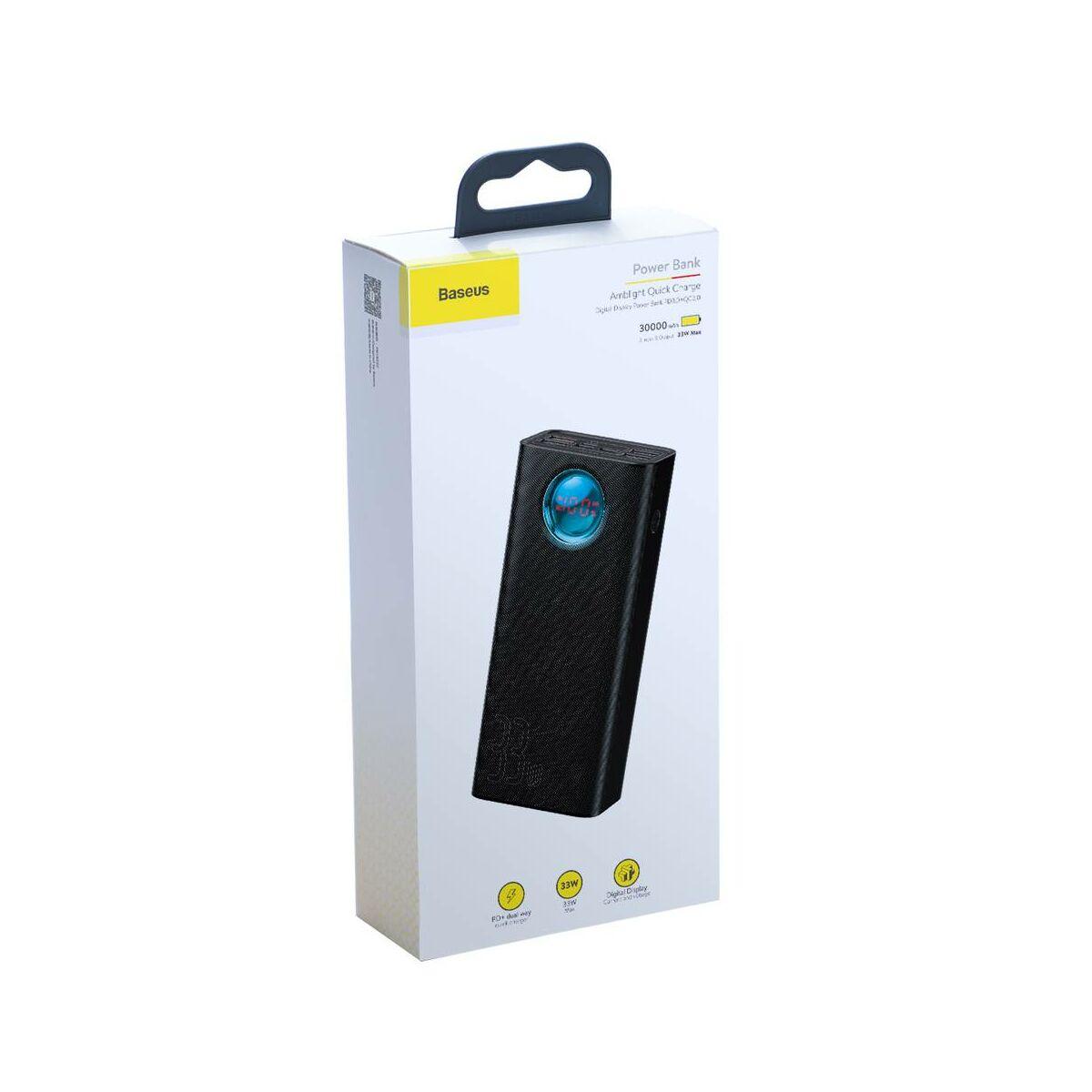 Baseus Power Bank Amblight LED kijelző PD3.0 QC3.0 4xUSB, 1xType-C 33W, 30000 mAh, fekete (PPLG-01)