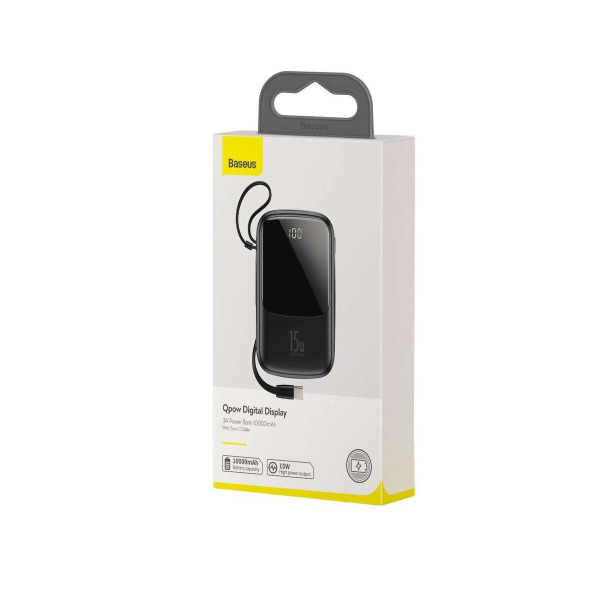 Baseus Power Bank Q pow Digitális kijelző (ajándék Type-C kábellel) 3A, 10000 mAh, fekete (PPQD-A01)
