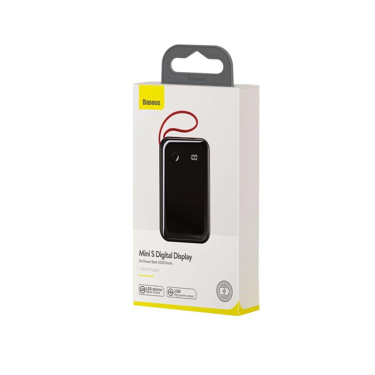 Baseus Power Bank Mini S Digitális kijelző 3A (ajándék Lightning kábellel) 10000 mAh, fekete (PPXF-B01)