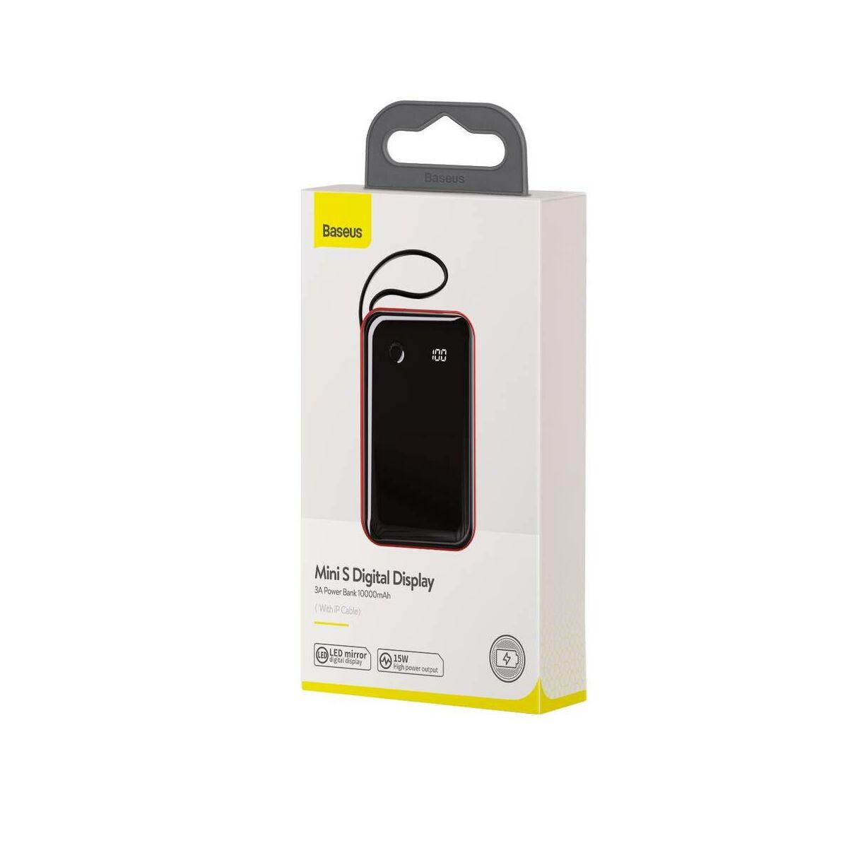 Baseus Power Bank Mini S Digitális kijelző 3A (ajándék Lightning kábellel) 10000 mAh, piros (PPXF-B09)