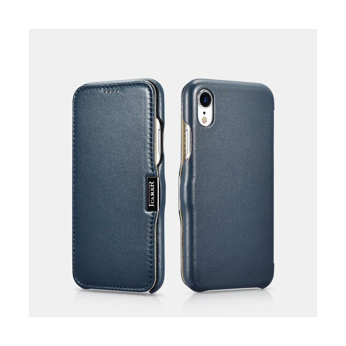 iCarer iPhone XR tok, Luxus Sorozat, oldalra nyíló, kék