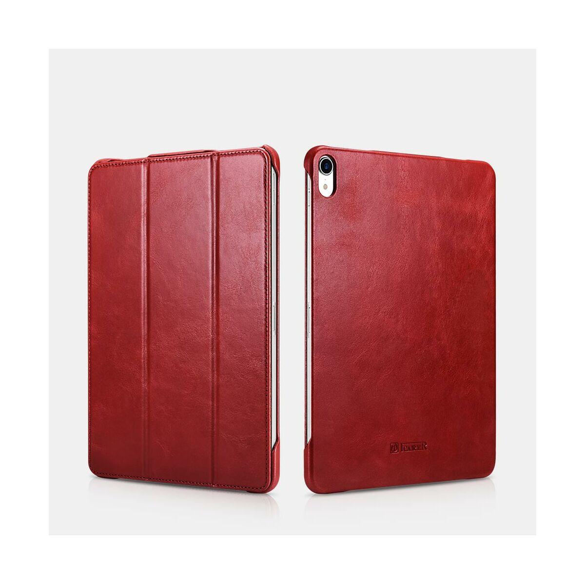 """iCarer iPad Pro 11"""" (2018) tok, Vintage Valódi Bőr, oldalra nyíló, asztali tartó funkcióval, piros"""