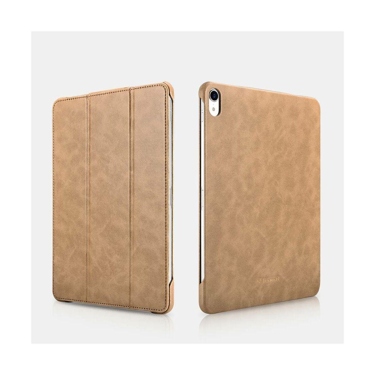 iCarer iPad Pro 11 (2018) Tok, Mikroszálas Bőr Slim Folio barna