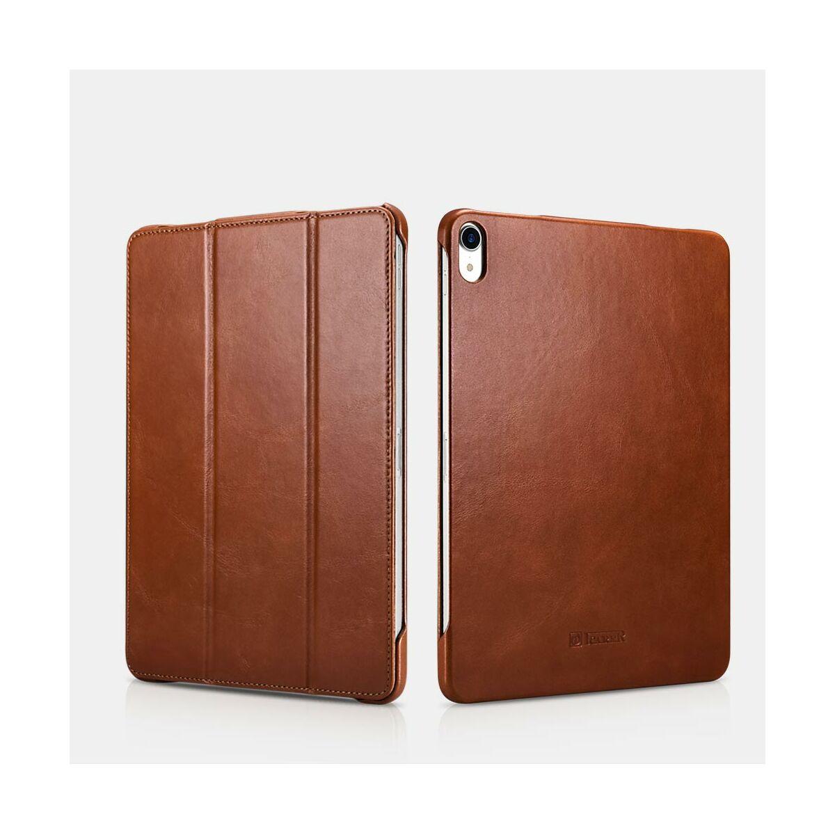 """iCarer iPad Pro 12.9"""" (2018) tok, Vintage Valódi Bőr, oldalra nyíló, asztali tartó funkcióval, barna"""