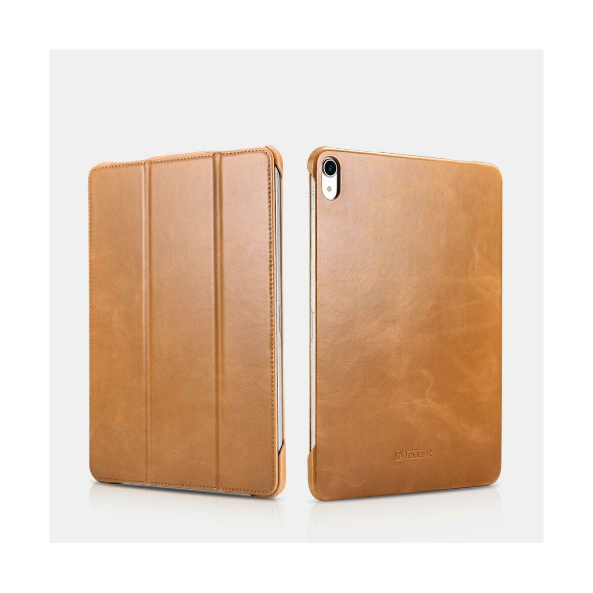 """iCarer iPad Pro 12.9"""" (2018) tok, Vintage Valódi Bőr, oldalra nyíló, asztali tartó funkcióval, khaki barna"""