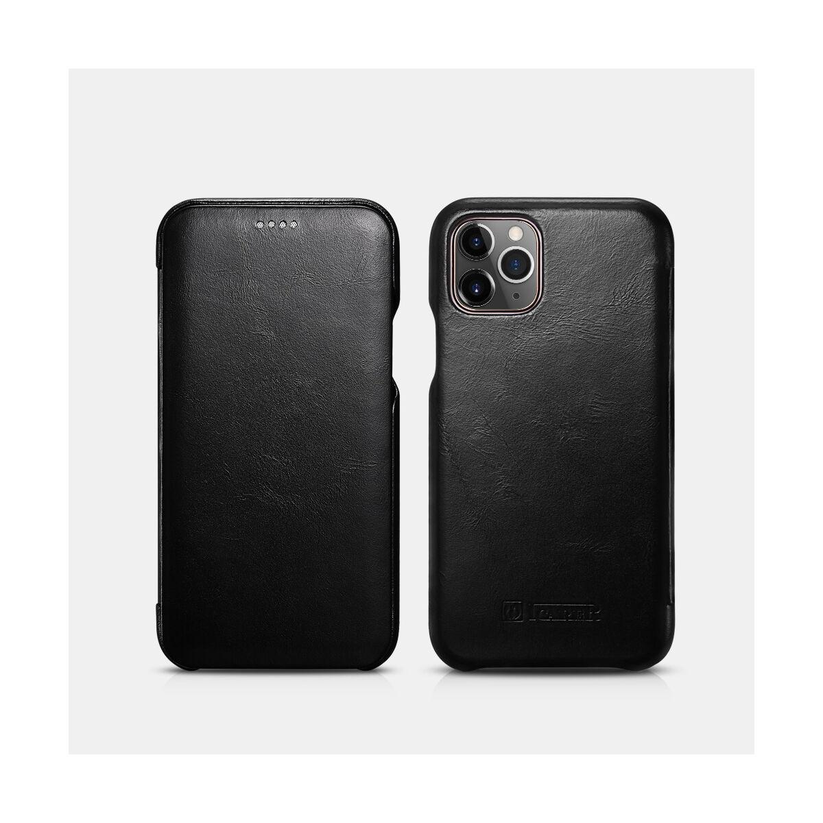iCarer iPhone 11 Pro tok, Vintage Ívelt élű, fekete