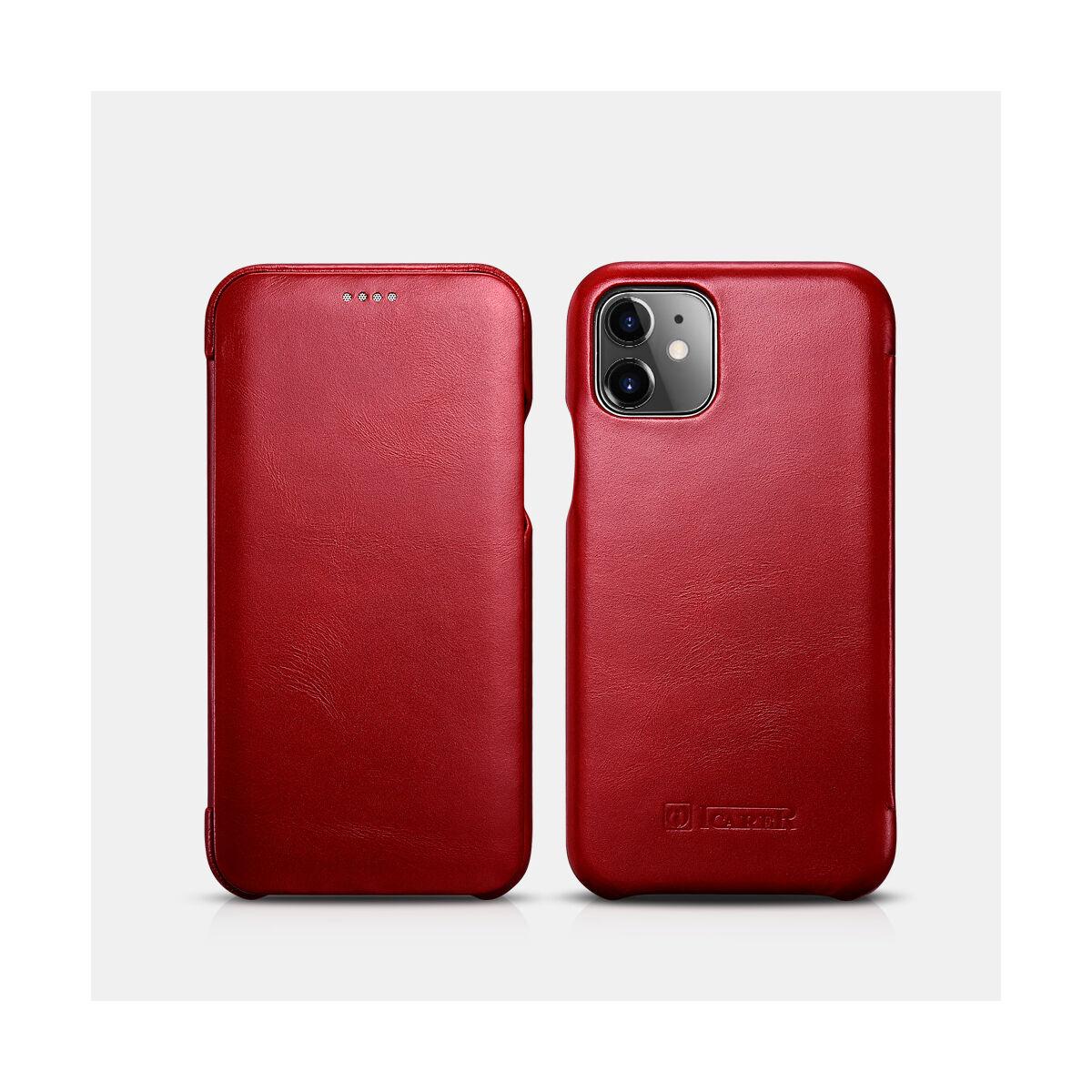 iCarer iPhone 11 tok, Vintage Ívelt élű, piros