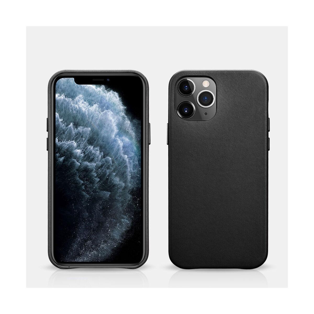 iCarer iPhone 12 Pro Max Eredeti valódi bőr, fekete