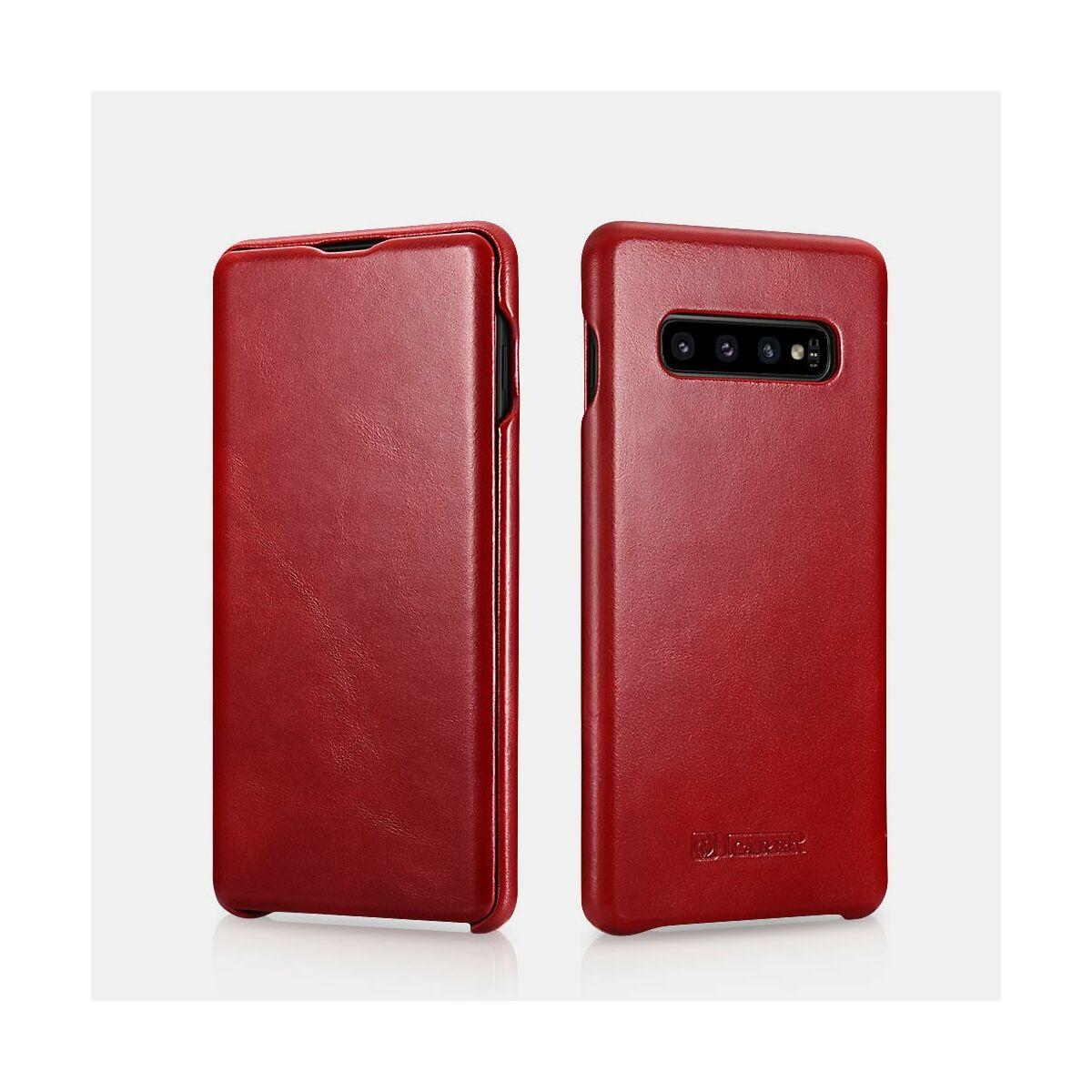 iCarer Samsung S10 Plus tok, Ívelt élű Vintage Sorozat, piros
